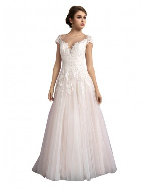 Affordable Ivory & Champagne Long Cathedral Train A-Line Mariana Wedding Dress Ottawa